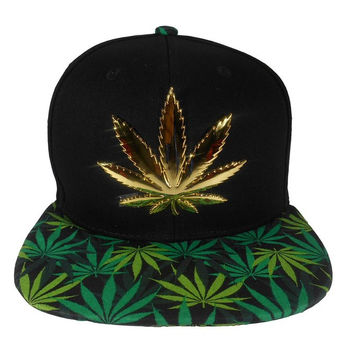 * Marihuana Metal Snapback In Black