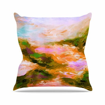 "Ebi Emporium ""Taken By The Undertow 2"" Pink Orange Throw Pillow"