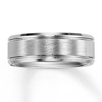 Men's Wedding Band White Tungsten Carbide 8mm