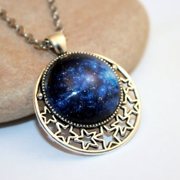 Galaxy Necklace, Glass Cabochon, Silver Tone Plated Pendant Setting