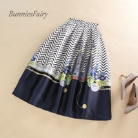 BunniesFairy 2016 Fall Winter New Novelty Cat and Flower Cartoon Floral Print High Waisted Flare Skater Skirt Block Color Casual