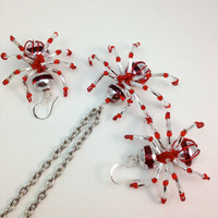 Necklace and Earrings Set - Red and Silver Spiders