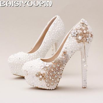 2017White Pearl Bride Shoes High with Fine with Photography Shallow Mouth Pendant Wedding Shoes Single Women's Shoes