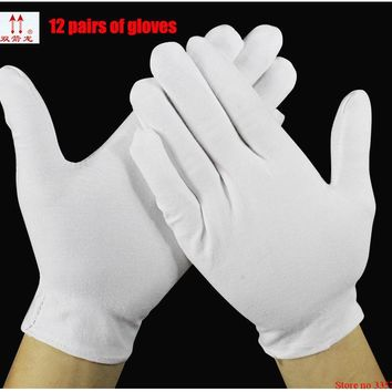 High quality Work Gloves  12 pairs/lot Anti-static 90% cotton / 10% nylon White Gloves Safety  etiquette Cotton Gloves