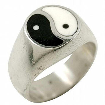 Inlayed Yin-Yang Silver Ring