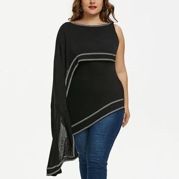 Plus Size Contrast Trim Tunic Ladies Tops