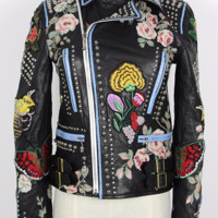Ceci Leather Studded Biker Jacket