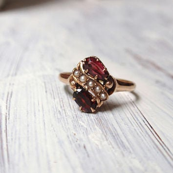 Victorian Garnet Seed Pearl Ring 14k January Birthstone