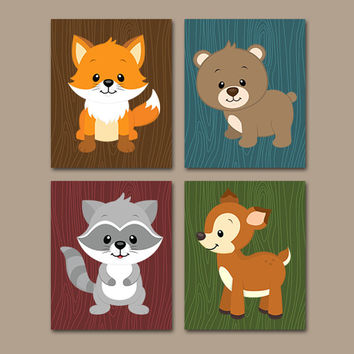 Woodland Nursery Wall Art, CANVAS or Prints Baby Boy Woodland Pictures, Forest Animals, Bear Fox Deer Raccoon Set of 4 Boy Bedroom Decor