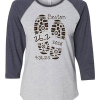 Ladies Marathon Shirt, Custom Mens Running Tshirt, Marathon Raglan Shirt, Gift for Marathon Runners, Running Clothes for Women, Run Marathon