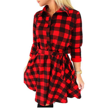 Women Check Tartan Plaid Mini Bandage Dress 3/4 Sleeve Jumper Shirt Dresses Tops SM6