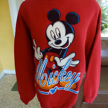 Vintage Mickey Mouse 1980s red sweatshirt - Disney