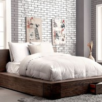Bazan Transitional Low Profile Storage Queen Bed in Natural