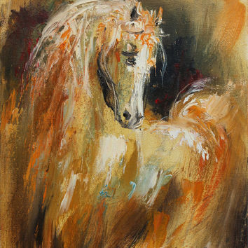 Horse, giclee canvas print of original oil painting,palette knife,fine art print