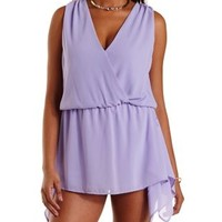 Lilac Handkerchief Overlay Sleeveless Wrap Romper by Charlotte Russe