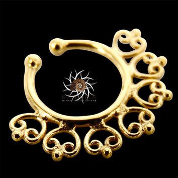 Fake Septum Ring - Faux Septum Ring - Fake Piercing - Clip On Piercing - Clip On Septum - Septum Jewelry - Brass Septum - Septum Cuff SF29G