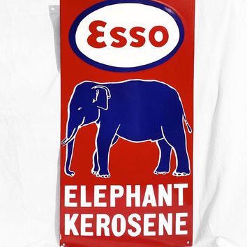 Vintage Porcelain Sign, ESSO Gas Station Kerosene Elephant Enamel Sign; Industrial Decor
