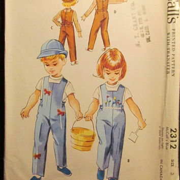 SALE Uncut 1950's McCall's Sewing Pattern, 2312! Size 3 Toddlers/Girls/Boys/Children's/Kids/Overalls/Coveralls/Blouses/Collared Shirts/Hats