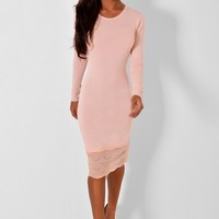 Sicily Peach Bodycon Lace Trim Midi Dress | Pink Boutique