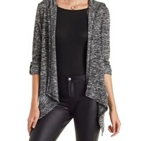 Black/White Marled Hooded Cardigan with Pockets by Charlotte Russe