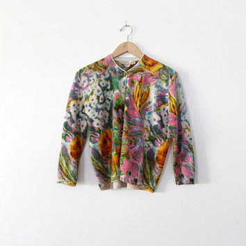 SALE 1960s Ste. Laurent floral cardigan