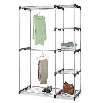Closet Storage Rack Double Rod Freestanding Toy Room Garage Shoes Clothing Black