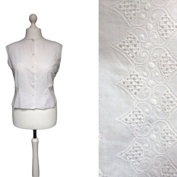 1950's White Cotton Blouse | XL | 50's Blouse | Embroidered Sleeveless White Blouse | Fifties Fashion