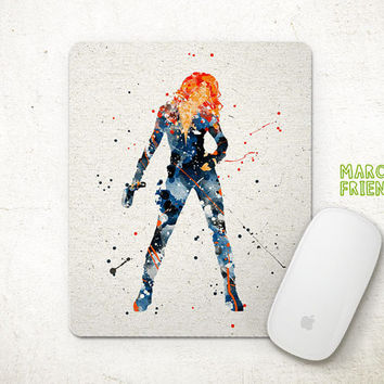 Black Widow Mouse Pad, Avengers Watercolor Art, Mousepad, Office Decor, Holiday Gifts, Art Print, Home Decorations, Avengers Accessories