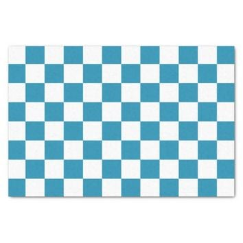 Teal Blue and White Checkerboard Pattern Tissue Paper