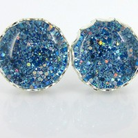 Silver-tone Blue Sparkle Glitter Glass Stud Earrings Hand-painted 10mm