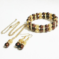 Brown Pearl Necklace Set / Bridesmaid Jewelry / Brown and Gold Wedding / Pearl Wedding Jewelry / Bridal Jewelry / Pearl Set / Brown Wedding