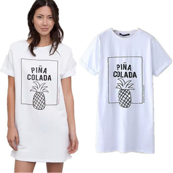 Pineapple Pattern Summer Fashion Style Lovely Women Clothing = 4697440836
