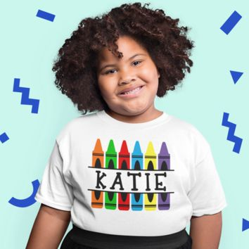 Kids Personalized Back To School T Shirt Crayon Shirts Custom T Shirt Custom School Shirts Crayons