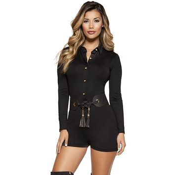 Kourtney Romper with Collared Gold Button-up Front Closure