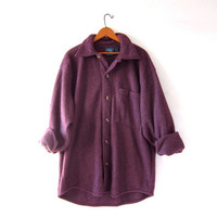 Vintage fleece shirt. boyfriend shirt. purple blanket shirt. button up fleece.