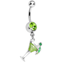 Green Gem Lime Martini Dangle Belly Ring   Body Candy Body Jewelry