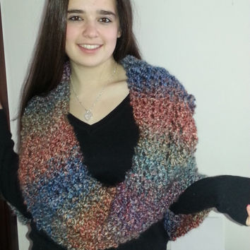Oversized Infinity Shawl....Multi colored boucle yarn, soft and warm, very versitile, winter 2014 hot