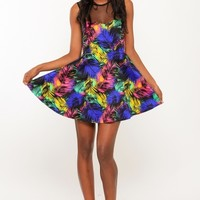 Dark Tropical Skater Dress @ Cicihot sexy dresses,sexy dress,prom dress,summer dress,spring dress,prom gowns,teens dresses,sexy party wear,women's cocktail dresses,ball dresses