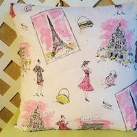 Paris Pillow Cover   White, Pink, and Black Print by Waverly | JRsPillowsandBags - Housewares on ArtFire