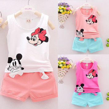 Vest Top + Shorts Pants Set Clothes Girl Outfits 1 2 3 4 Years Summer 2PCS Kids Baby Girls Clothes Sets Cute Cartoon Minions