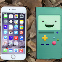 adventure time 3d beemo cash ID card leather wallet case for apple iphone 4 4s 5 5s 5c 6 plus
