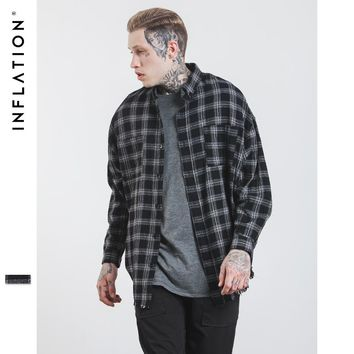 Autumn & Winter Long Sleeve Casual Shirt Hiphop Streetwear Men's Plaid Check Flannel Shirt