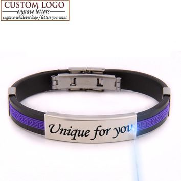 AZIZ BEKKAOUI love bracelets diy unique gift couple bracelet for women men jewelry rubber ID bracelet customized engraved name