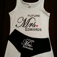 Future Mrs Custom Bridal Tank Top and Panties Novelty Bride Tank Top, I said Yes TAnk Top, Soon To Be Tank, The New Mrs Tank Top Custom Name