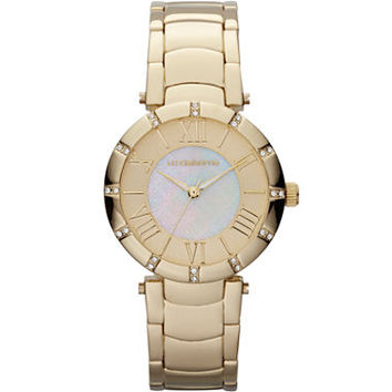 Liz Claiborne® Womens Gold-Tone Mother-of-Pearl Bracelet Watch