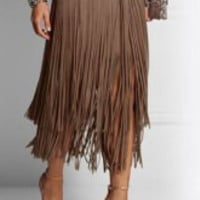 Multi Color Fringed Midi Skirt