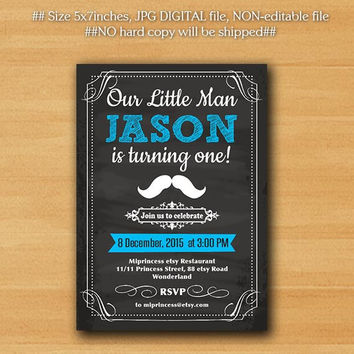 little boy Birthday Invitation. Little Man Mustache invite Boy first birthday 1st 2nd 3rd 4th 5th 30th 40th 50th 3color to choose- card 704