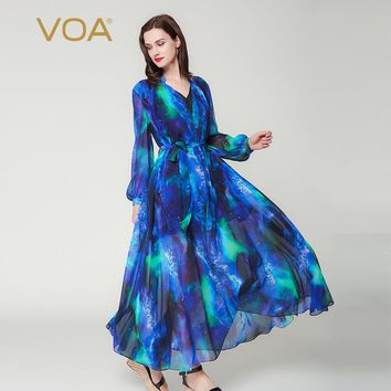 VOA 2017 Autumn Puff Long Sleeve Blue Sky V-neck Double Layer Silk Dress Casual Lace-up Plus Size Women Maxi Robes Dress A6201