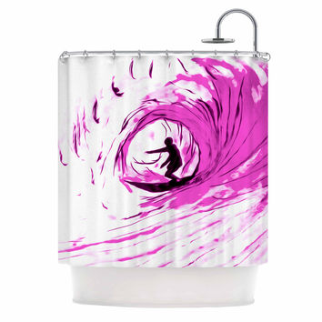 "Bruce Stanfield ""Solo Surfer"" Pink White Shower Curtain"