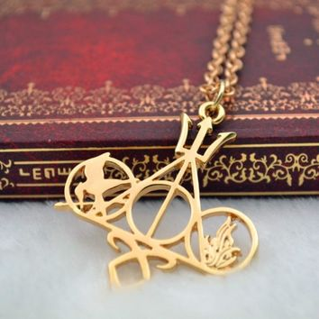 Fashion Movie Necklace Mix Harry Potter Hunger Games Pendant Necklace for Men Women Jewelry Best Gift